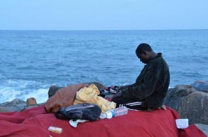 Migrants at the Italy-France border in Ventimiglia